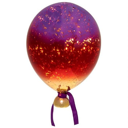 Three Tone Large Glass LED Light Up Purple, Red and Gold Balloon